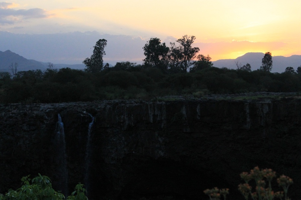 sunset blue nile falls